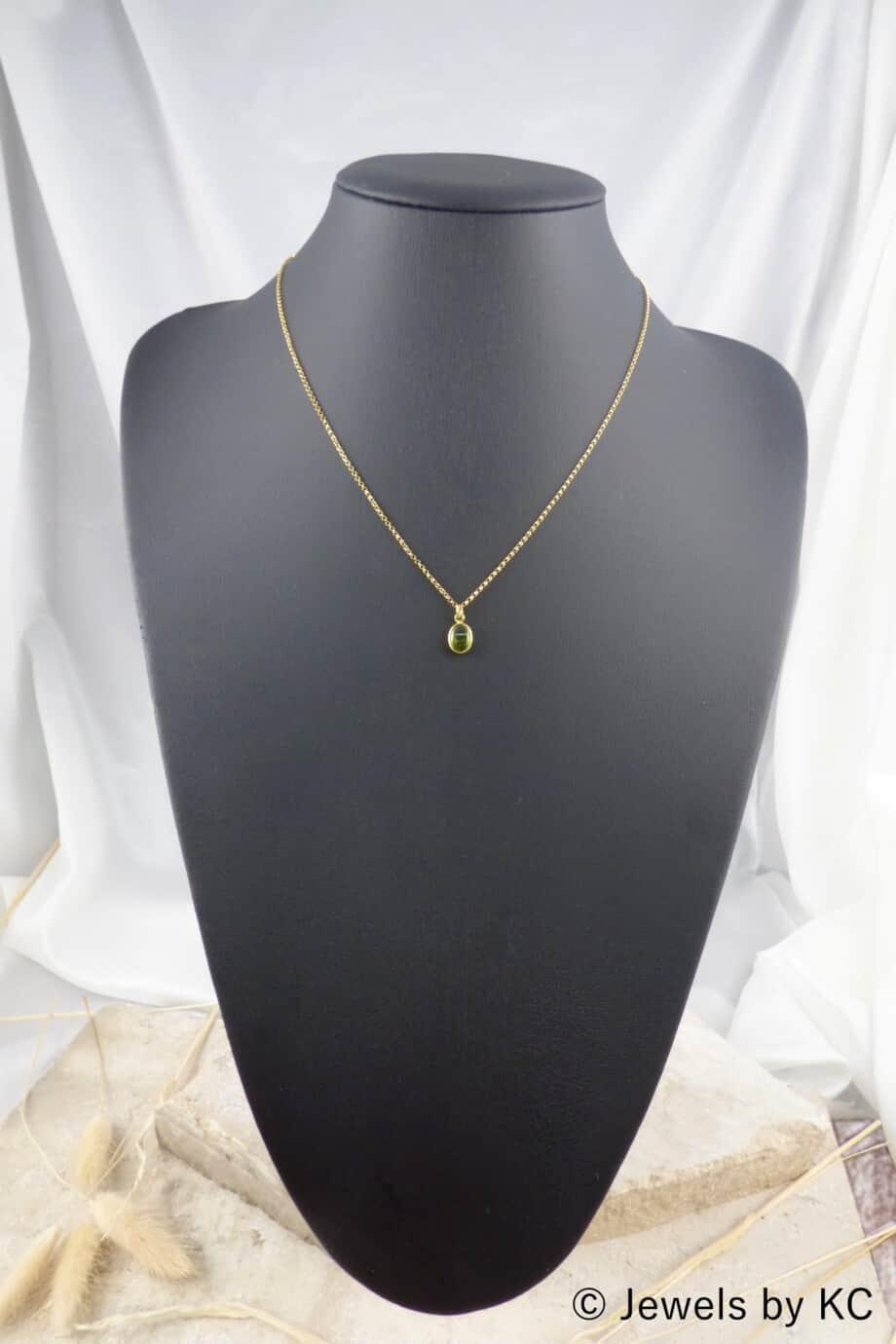 Gouden ketting met groene Peridoot hanger van Goud op Zilver