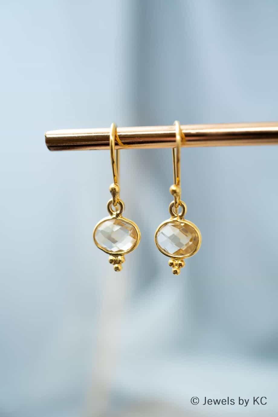 Gouden Citrien edelsteen oorbellen van Goud op zilver