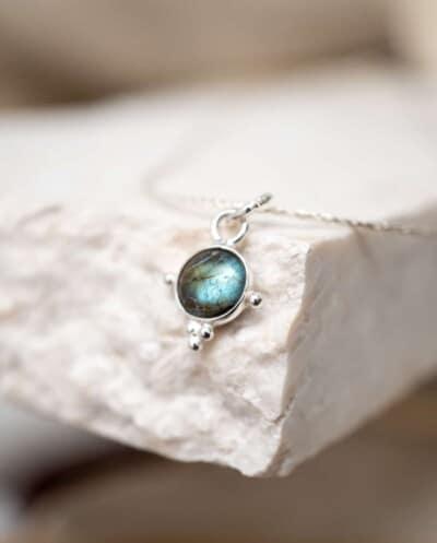 Zilveren blauwe Labradoriet edelsteen ketting Classic van Sterling Zilver