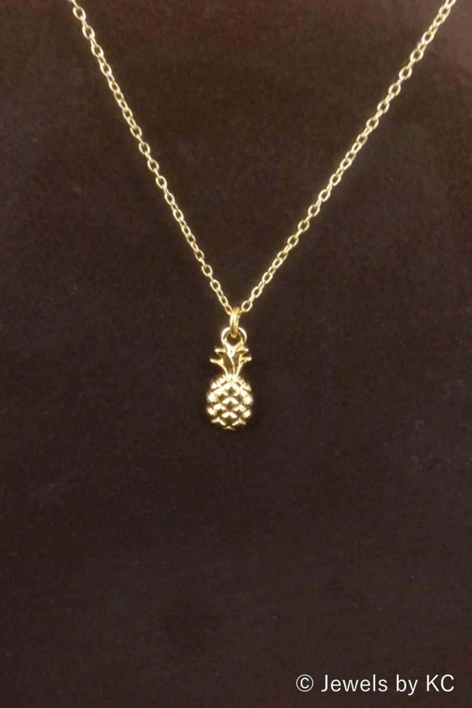 Gouden ketting met 'Ananas' hanger van Goud op Zilver