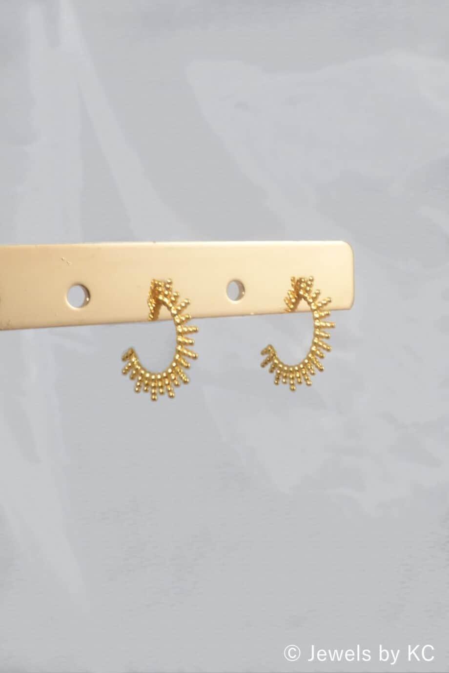 Gouden oorbellen 'Sunbeams' van Goud op Zilver