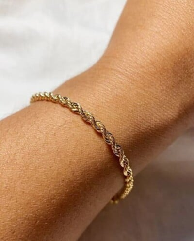 Gouden twisted rope armband van Stainless steel