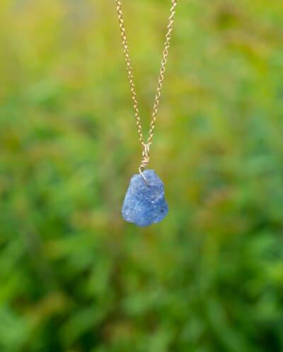 Gouden edelsteen ketting Blauwe Tanzaniet van Goldfilled