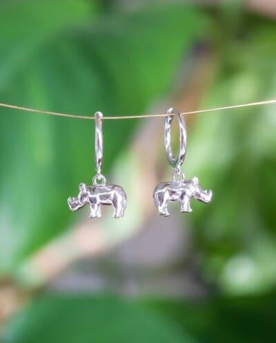 Zilveren neushoorn oorbellen-oorringen van Sterling Zilver